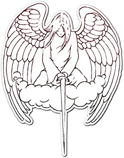 Male Angel with Sword - Vinyl Decal Sticker - 5.75