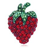 Soulbreezecollection Strawberry Fruit Pin Brooch Red Green Rhinestone Enamel Designer Fashion Jewelry