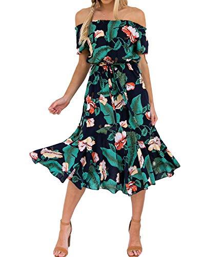 Style Dome Damen Schulterkleid Langarm Boho Kleid Blumenmuster Strandkleid Sommerkleider Lang Maxikleid 2 Grün M