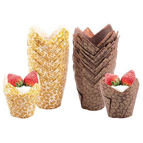 Roponan Tulip Cupcake Liners, 100 Pcs Tulip Baking Cups, Golden Leaf Muffin Liners Holders, Cupcake Wrapper for Wedding, Birthday Party (Brown & White)