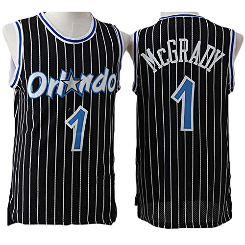 Jerseys de Baloncesto para Hombres, NBA Orlando Magic # 1 Tracy McGrady Classic Swingman Jersey, Tela Respiradora Fresca Vintage All-Star Unisex Uniforme,Negro,M