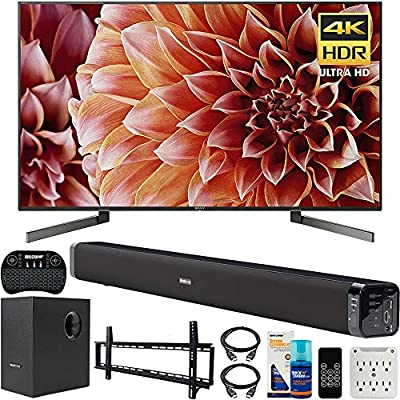 Sony XBR65X900F 65-Inch 4K Ultra HD Smart LED TV Bundle with Deco Gear 60W Soundbar, Wall Mount Kit, 2.4GHz Backlit Keyboard, 6-Outlet Surge Adapter and Screen Cleaner for LED TVs