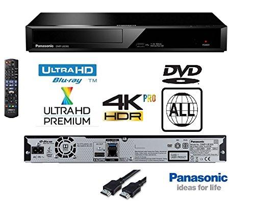 Panasonic 4K Ultra HD Blu-Ray-Player mit multiregionaler DVD-Wiedergabe, Modell DP-UB320 / DMPUB320, gleiche Familie wie DMP-UB300 / DMP-UB700 / DMP-UB900 / DMP-UB400, inklusive flachem HDMI-Kabel, Schwarz