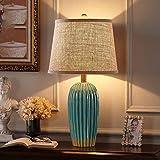 ETH lámpara de mesa D10xH62cm Pequeña Mesa Retro Americana Lámpara De Noche Dormitorio De La Lámpara Moderna Sala De Estar Minimalista De Estilo Europeo De Cerámica Nórdica Sitio De La Unión Matrimoni