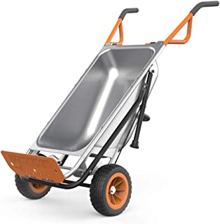 "WORX WG050 Aerocart 8-in-1 2-Wheel Wheelbarrow/Garden Cart/Dolly, Orange, Black, and Silver, 18"" x 12"" x 42"""