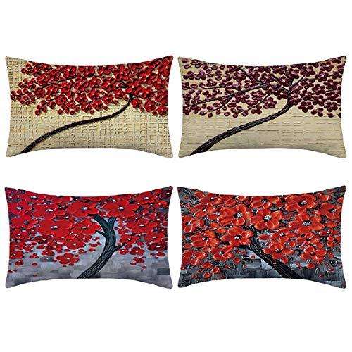 hmyo 4 Fundas de Almohada, Fundas de cojín de Lino y algodón para sofá, Cama de 12x 20 Pulgadas (Solo Funda, sin Relleno)