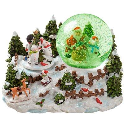 WeRChristmas - Soprammobile con palla di neve, 22 cm, con Babbo Natale e pupazzi di neve, opzione musica con interruttore On/Off