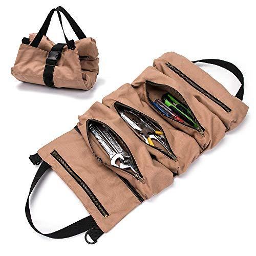 Große Multi-Taschen Werkzeugrolle Schraubenschlüssel Rollentasche Roll Up Tools Bag Werkzeug-Organizer, Eimer, Werkzeug zum Aufrollen, handliche kleine Werkzeuge, Tragetasche (Brown)