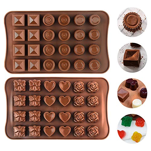 2 PCS Silikon Schokolade Formen, 48 Mini Hohlraum Pralinenform Silikonformen, Backform für Schokolade, Kuchen, Gelee, Pudding, handgefertigte Seife, runde