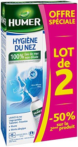 Humer - Spray nasal Hygiène du nez Adulte - 100% eau de mer - Excellente tolérance - Lot de 2, 150ml