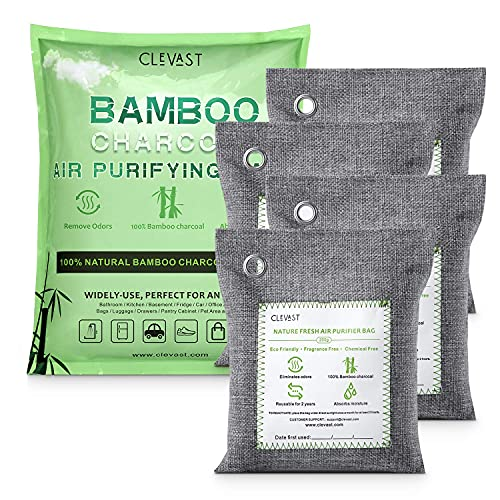 CLEVAST Bamboo Charcoal Air Purifying Bags (4×200g), Removes Odors and Moisture, Nature Fresh Air Purifier Bags, Odor Eliminator for Home, Car, Pets, Bathroom, Basement