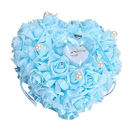 Almohada de anillo de boda – Almohada de anillo en forma de corazón rosa espuma rosa boda corazón anillo anillo caja portaanillos