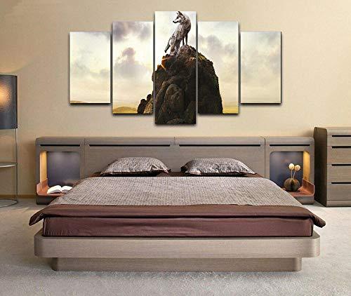 5 Panel Impresión en Lienzo Colina Animal Lobo Solitario 5 Cuadros Modernos Impresión de Imagen Artística Digitalizada   Lienzo Decorativo para Salón o Dormitorio