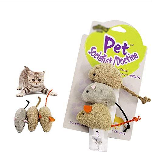 SYY 3er Pack Katzenspielzeug Plüschmäuse Spielen Katzenspielzeug Lebensechte Fette Katze Plüsch Lebensechtes Mäusespielzeug Für Katze