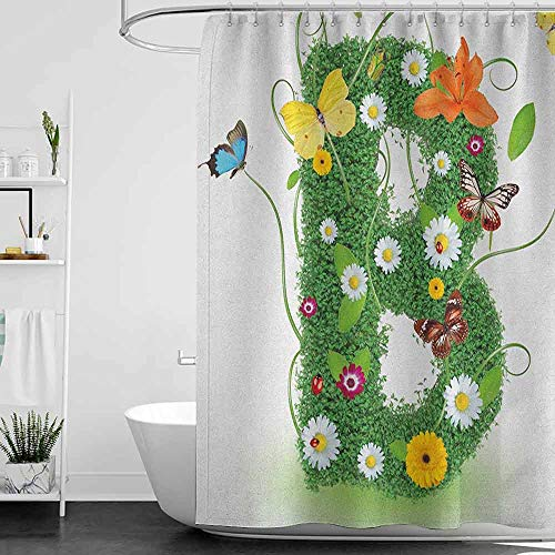Lohebhuic hengshu Letter B Hotel Quality Polyester Shower Curtain Uppercase B Sign with Flourishing Daisies Exotic Garden Plants Butterflies Fresh Shower and Bathtub W72 x L78 Inch Multicolor