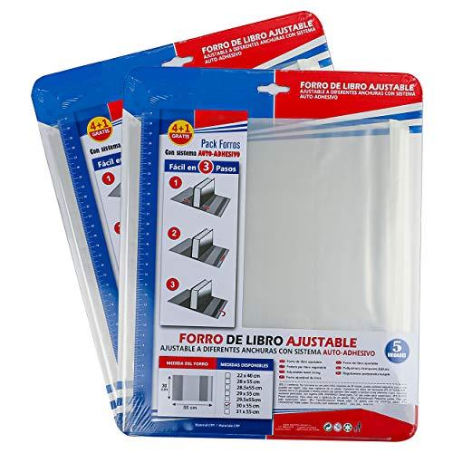 Forro de Libros Autoadhesivo y Ajustable Transparente - Pack de 10 Unidades Forra Fácil 30x55 cm