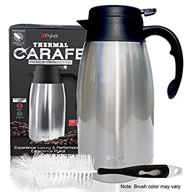 Thermal Coffee Carafe Stainless Steel - Heavy Duty, 24hr Lab Tested Heat Retention, 2 Liter 68oz Insulated Coffee Thermos, Water & Beverage Dispenser, Premium Grade Thermal Pot by Pykal