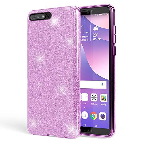 NALIA Custodia in Silicone compatibile con Huawei Y6 2018, Glitter Gel Copertura Protezione Sottile Cellulare, Slim Smartphone Bling Cover Case Protettiva Scintillio Bumper, Colore:Viola