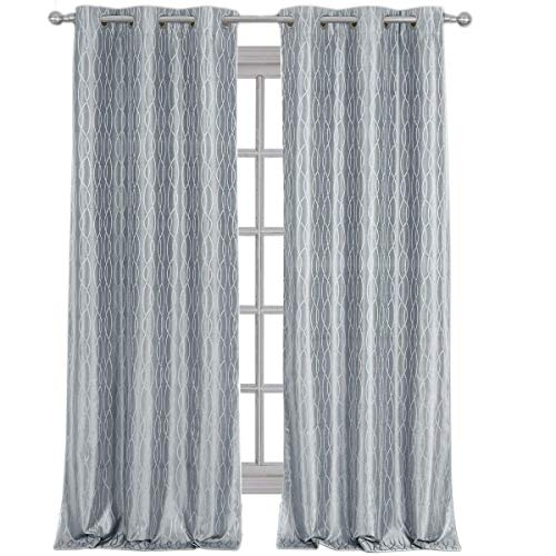Royal Hotel Voyage Jacquard Silver-Gray, Top Grommet Blackout Window Curtain Panels, Pair/Set of 2 Panels, 38x84 inches Each