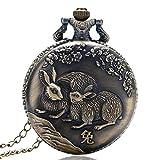 Nfudishpu Vintage Taschenuhr Retro China Zodiac Rabbit Cute Full Hunter Taschenuhr RunQuarz Taschenuhr Geschenk