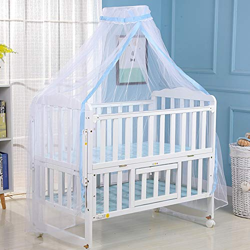 Babybedhemel, opvouwbaar baby-muggennet babybed-overkapping, filetwerk-afdekking, zuuglingsbed-tent, mesh-kappen-muggennet blauw