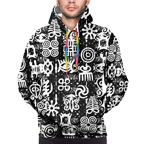 Hangdachang African Adinkra - Black and White Digital Youth 3D Printed Hooide Sweatshirt with Pocket XL