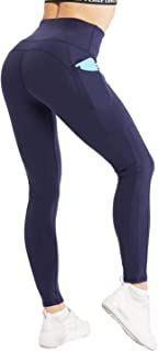 NORMOV High Waisted Leggings for Women - Workout Leggings, Womens Tummy Control, Side Pocket