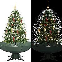 Progettazione distintiva con sistema nevicante Colore: Verde (albero) + bianco (neve) + rosso e oro (decorazione) Materiale: PVC (albero) + poliestere (ombrello) + plastica (decorazioni) Altezza totale: 140 cm Diametro della base: 25 cm
