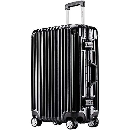 [トラベルハウス]Travelhouse スーツケース キャリーバッグ アルミフレーム スクラッチ仕上げ 超軽量 大容量 TSAロック (M, ブラック)