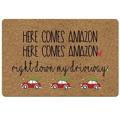 Doormat Funny Front Door Mat- Here Comes Amazon Right Down My Driveway Christmas Doormat Rubber Non Slip Backing Funny Doormat for Outdoor/Indoor Uses 23.6'(W) X 15.7'(L)
