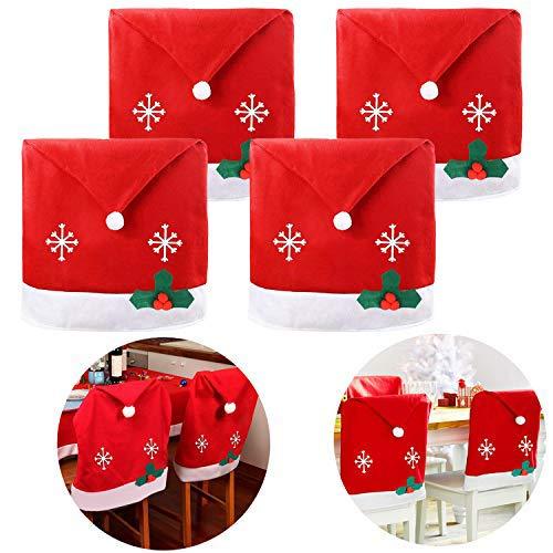 outgeek Weihnachten Stuhlbezug, 4PCS Weihnachts Chair Back Cover Santa Cap Dining Chair Abdeckung Weihnachten Supplies