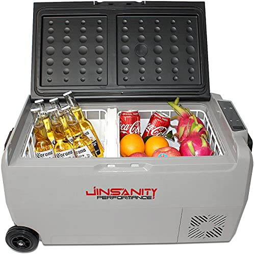 JinsanityPerformance Dual Temperture Control Refrigerator 38Quart with 12/24V DC & 120-240V AC, Portable refrigerator freezer fridge cooler For Car, RV, Camping, Travel, Fishing, Outdoor or Home Use