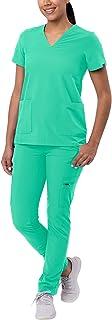 Adar Addition Scrub Set For Women - V-Neck Scrub Top & Skinny Cargo Scrub Pants