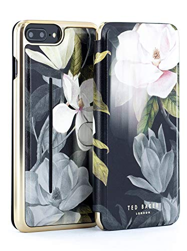 Ted Baker Fashion Premium Book Case for iPhone 8 Plus / 7 Plus / 6 Plus, Contactless Card Slot Cover Without Magnets for Women - AGATHAH