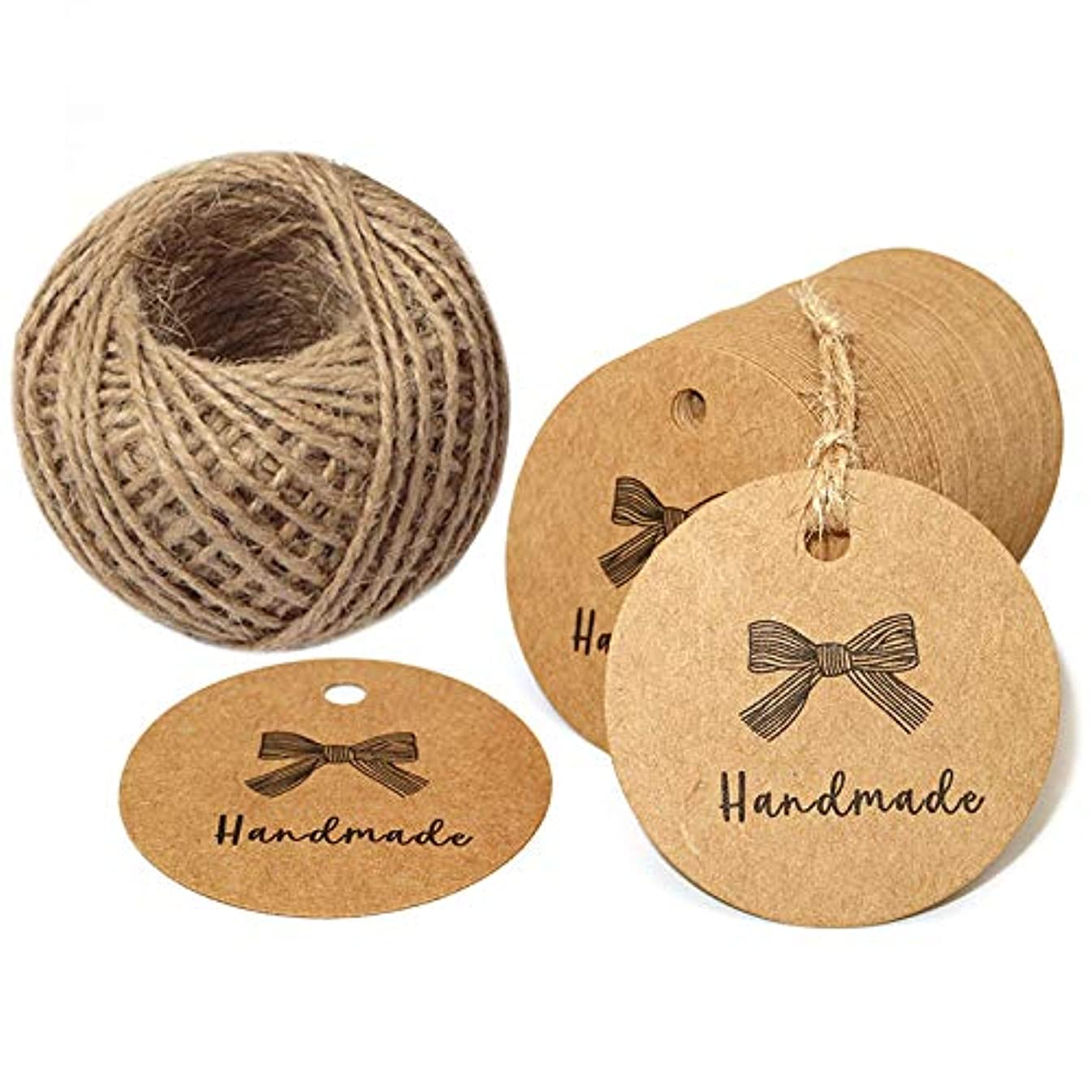 100 PCS Handmade Tags Kraft Paper Hang Tags 2'' Round Tags Craft Gift Tags with 100 Feet Natural Jute Twine Perfect for Arts & Crafts DIY Gift Decorations