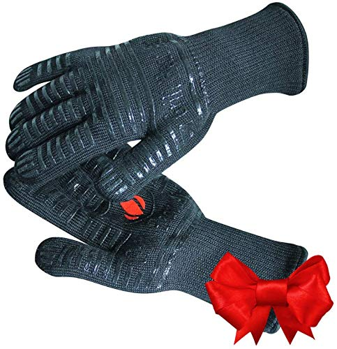 GRILL HEAT AID Extreme Heat Resistant BBQ Gloves. HighDexterity Handling Hot Food Right on Cast Iron, Barbecue or Smoker. Multi-Purpose Fireproof Indoor Outdoor Use For Men and Women. One Size, Black