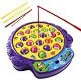 Haktoys Fishing Game Toy Set with Rotating Board | Now with Music On/Off Switch for Quiet Play | Includes 21 Fish and 4 Fishing Poles | Safe and Durable Gift for Toddlers and Kids