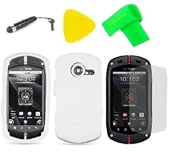White Phone Case Cover Cell Phone Accessory + Yellow Pry Tool + Stylus Pen + Screen Protector + EXTREME Band for Verizon Wireless Casio G zOne Commando C771