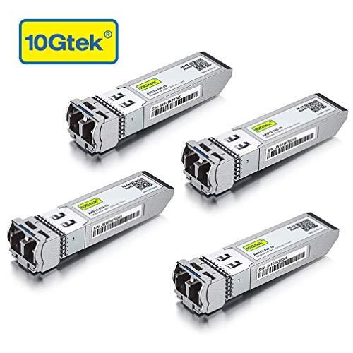 10Gtek [4 Stück] 10Gbit SFP+ LR Singlemode Modul, 10GBase-LR SFP+ LC Transceiver, Kompatibel für Cisco SFP-10G-LR, Ubiquiti, Netgear, D-Link, TP-Link, Zyxel, Qnap, Mikrotik, Open Switch, MEHRWEG