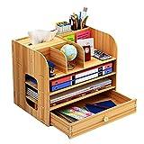 Schreibtisch-Organizer, groß, aus Holz mit Schublade, Stifthalter, Aufbewahrungsbox für Schreibtisch im Büro, Zuhause und Schule, 32 x 26 x 22,5 cm natürlicher farbton