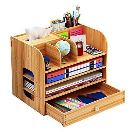 Organizador de escritorio grande de madera con soporte para lápices, cajones de escritorio, para oficina, hogar y escuela, 32,5 x 26,5 x 22,5 cm, color Color natural.