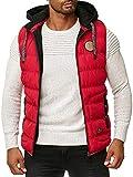 BLACKROCK Gilet da uomo per attività all'aria aperta, slim fit, cappuccio rimovibile e collo alto, moderno Colore: rosso XXXL