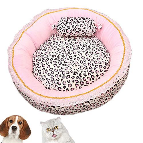 TTBD Rosa Leopard Dog Bed, Letto per Cani E Gatti Bella Cuccia per Animali Domestici Cuccia per Cane con Cuscino Reversibile con Lavabile Coperchio Rimovibile,Circular,S