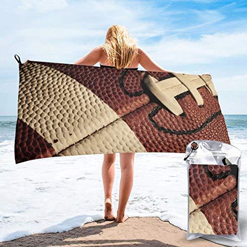 Sunmuchen Toalla de baño con patrón de rugby, toalla de gimnasio, toalla de playa, uso multiusos para deportes, viajes, súper absorbente, microfibra suave de secado rápido, ligero