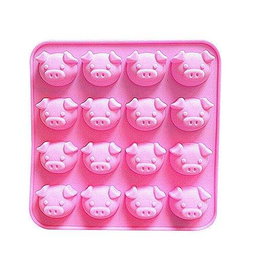 Gespout Moule à Cake Anti-adhérent en Silicone 16 têtes de Cochon Gâteau Cookie Savons Gelée Chocolat Outil Cuisson de Cuisine