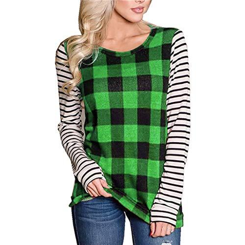 Affordable Amlaiworld Fashion Women Tunic Shirt O-Neck Long Sleeve Plaid Printed Sweatshirt Pullover...