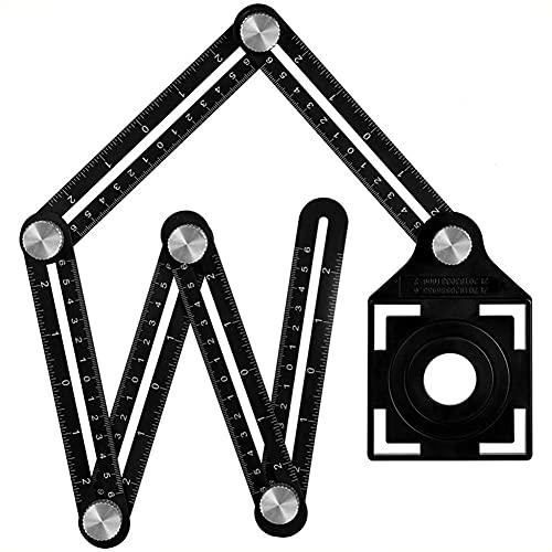 BAWAQAF Regla de medición de múltiples ángulos,Regla plegable,Regla de ángulo de aleación de aluminio,6 veces regla perforada plantilla localizador