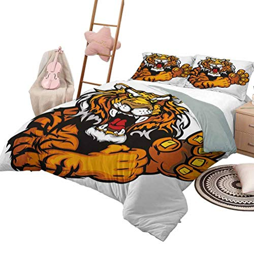 Daybed Quilt Set Tiger for Boys and Girls Cartoon Styled Very Angry Muscular Large Feline Mascot Animal Growling Print Full Size Black and Orange
