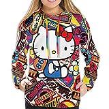 Hello Kitty - Sudadera con capucha para mujer, estampado 3D, color negro