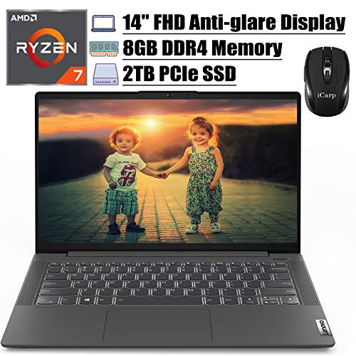 2020 Flagship Lenovo IdeaPad 5 14 Laptop 14' FHD Anti-Glare Display AMD 8-Core Ryzen 7 4700U(Beats i7-10510U) 8GB DDR4 2TB PCIe SSD Backlit FP Dolby Win 10 (Graphite Grey) + iCarp Wireless Mouse